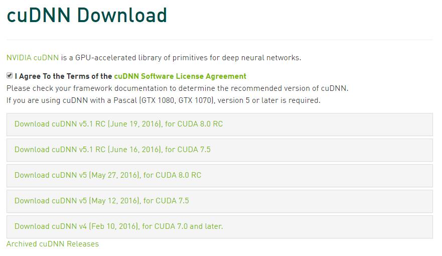 cuDNN versions