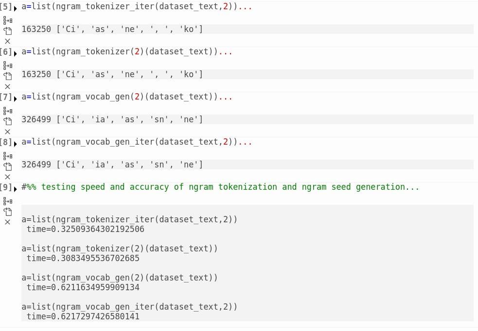 Python ngram tokenizer czas działania